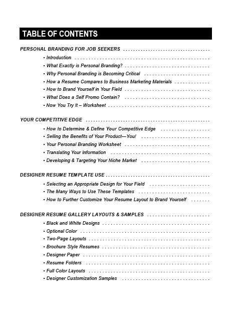 download table of contents - Contents In Resume